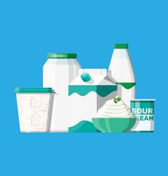 sour milk products set vector image