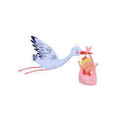 stork flying with cute little girl in bag newborn vector image