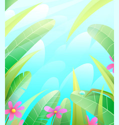 summer nature grass and leaves background vector image
