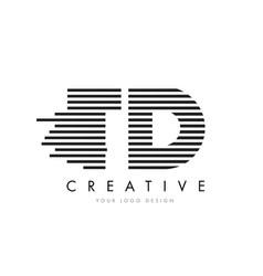 Td t d zebra letter logo design with black and vector