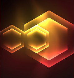 Techno glowing glass hexagons background vector