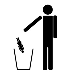 The man throws out in a recycle bin of the woman vector