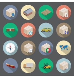 Transportation and delivery flat icons set vector image