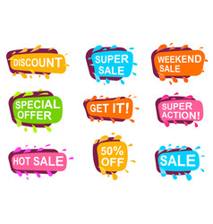 trendy speech bubble set for retail vector image