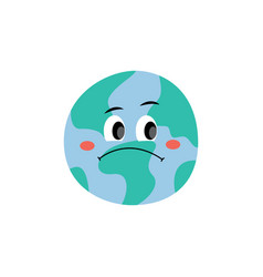 unhappy sad earth planet character flat vector image