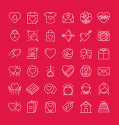 valentines icons set vector image