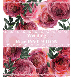 Vintage roses background floral card retro vector