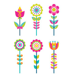 Wild field flowers in colorful ornamental design vector