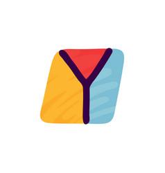 y letter logo in kids paper applique style vector image