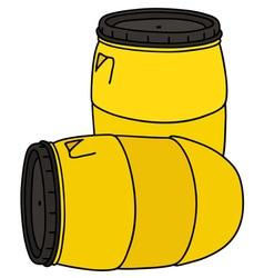 Yellow plastic barrels vector