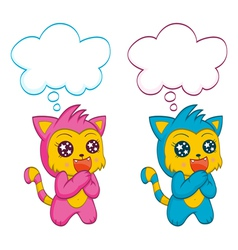 Cute cats with speech bubbles vector image vector image