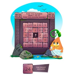 Find the missing number vector image vector image