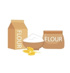Flour set flat style isolated on a white vector image