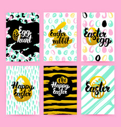happy easter trendy hipster posters vector image