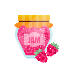 raspberry jam glass jar of berry confiture vector image vector image
