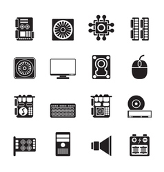 Silhouette computer performance and equipment vector