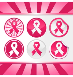 Sticker and Buttons with Pink Awareness Ribbons vector image
