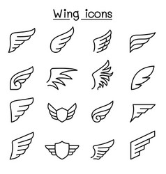 wing icon set in thin line style vector image vector image