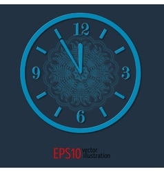 Blue elegant vitage clock for new year and vector image