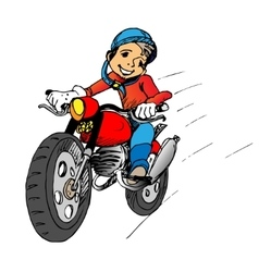Boy on a motorbik vector image vector image