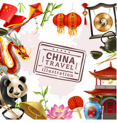 china travel frame background vector image vector image