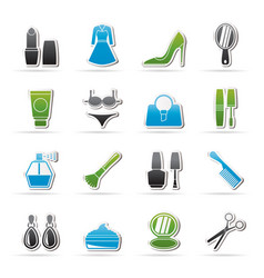 female objects and accessories icons vector image