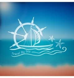 Label marine theme vector image vector image