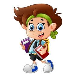 little boy holding books vector image