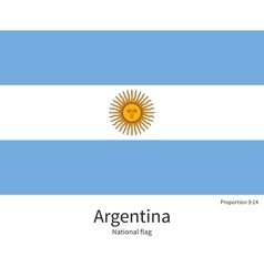 National flag of Argentina with correct vector image