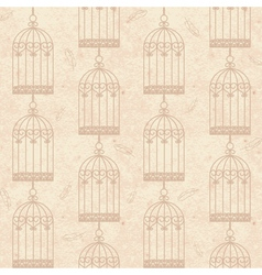 seamless old cardboard texture with bird cage vector image