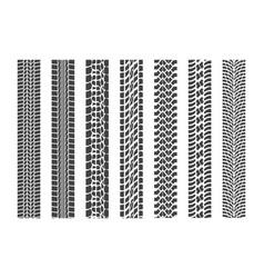 black tire tracks wheel car set vector image vector image
