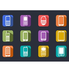 flat cell phone long shadow icons vector image