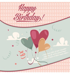 Retro vintage happy birthday card with baloons vector image
