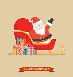 Santa claus on a sleigh with piles of presents vector image vector image