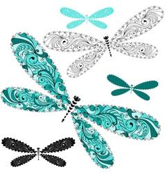Set vintage dragonflies vector image