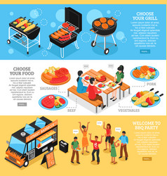 barbecue 3d isometric banners set vector image vector image