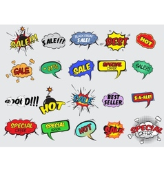 Comic sale explosion icons vector image vector image