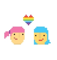 Pixel art style two lesbian girls vector image vector image