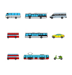 public transport color icons vector image vector image