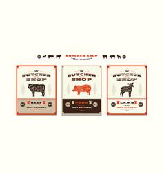 set of templates label for butcher shop vector image vector image