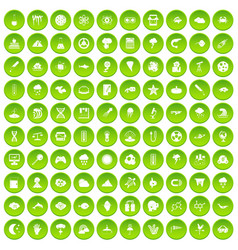 100 research icons set green vector