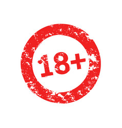 18 years grunge round red warning stamp vector