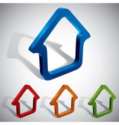 3d home icons vector image