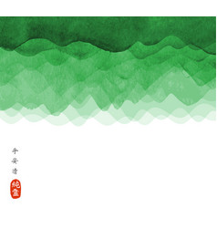 abstract background with green waves hand drawn vector image