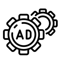 Ad and two cogwheels icon outline style vector