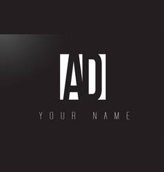 Ad letter logo with black and white negative vector