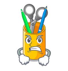 Angry desktop organizer shape on cartoon funny vector