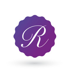Badge design elements letter r template vector