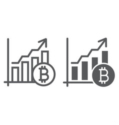 bitcoin chart line and glyph icon finance vector image