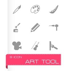 Black art tool icon set vector